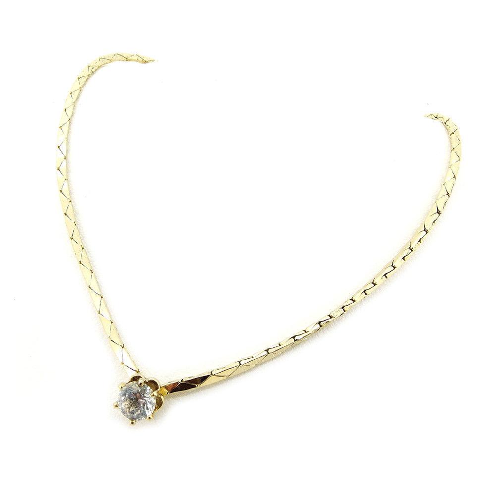 【中古】 ディオール Dior ネックレス アクセサリー レディース 一粒ストーン クリア×ゴールド ストーン×ゴールドメッキ 良品 T3540 .