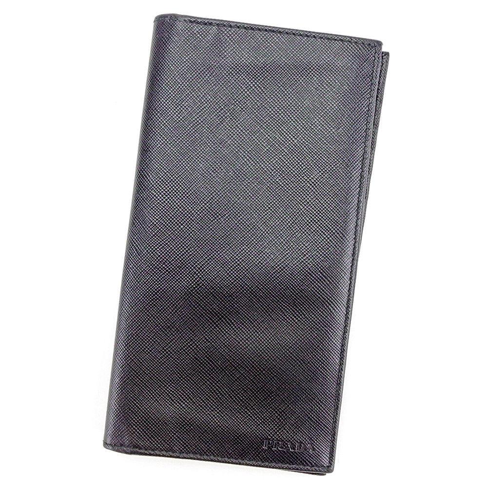 【中古】 プラダ PRADA 長札入れ 札入れ メンズ ロゴ ブラック サフィアーノレザー 美品 T3586