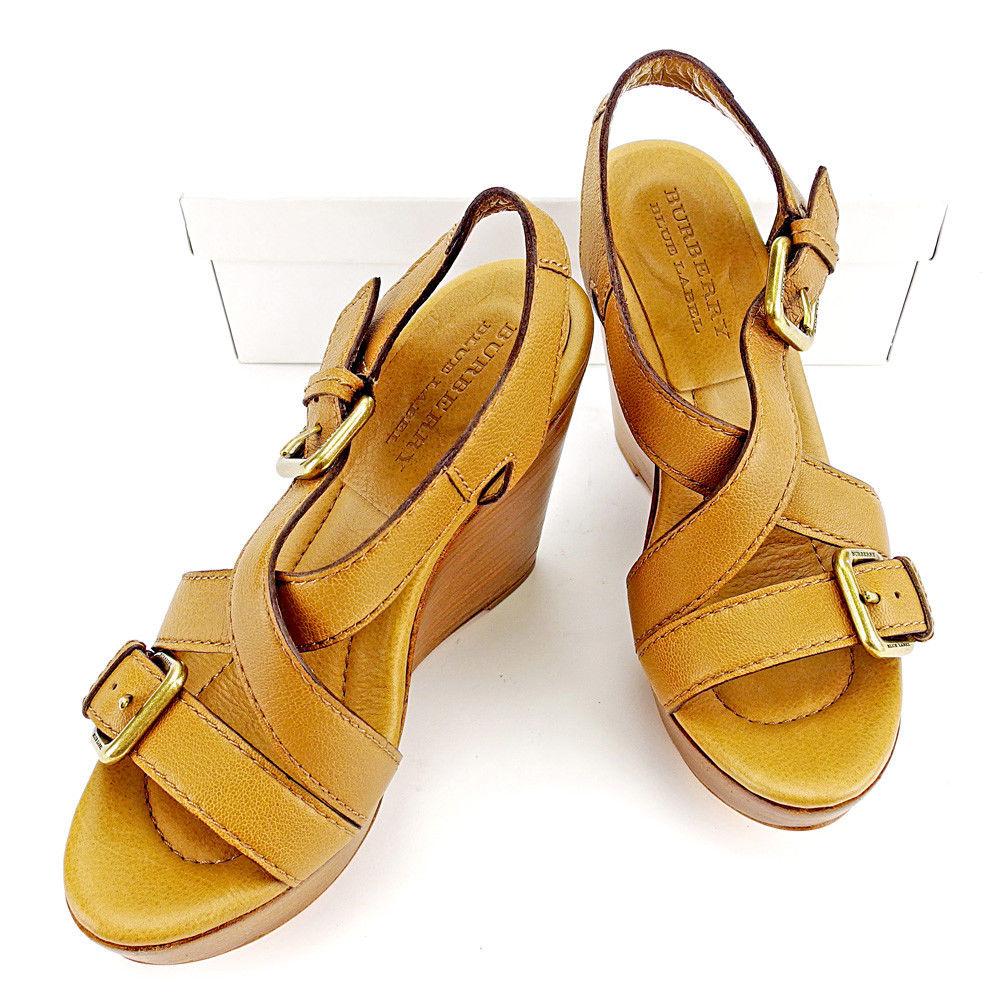 【中古】 バーバリー ブルーレーベル BURBERRY BLUE LABEL サンダル シューズ 靴 レディース ♯5 ウェッジソール クロスデザイン キャメル×ブラウン×ゴールド レザー 美品 T3598 .