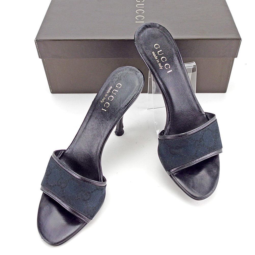 【中古】 グッチ GUCCI ミュール サンダル シューズ 靴 レディース ♯35C ピンヒール ブラック キャンバス×レザー T3599
