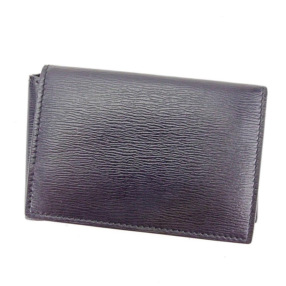 【中古】 バレンシアガ BALENCIAGA カードケース パスケース レディース メンズ 可 内側ロゴ ブラック レザー 美品 T3606