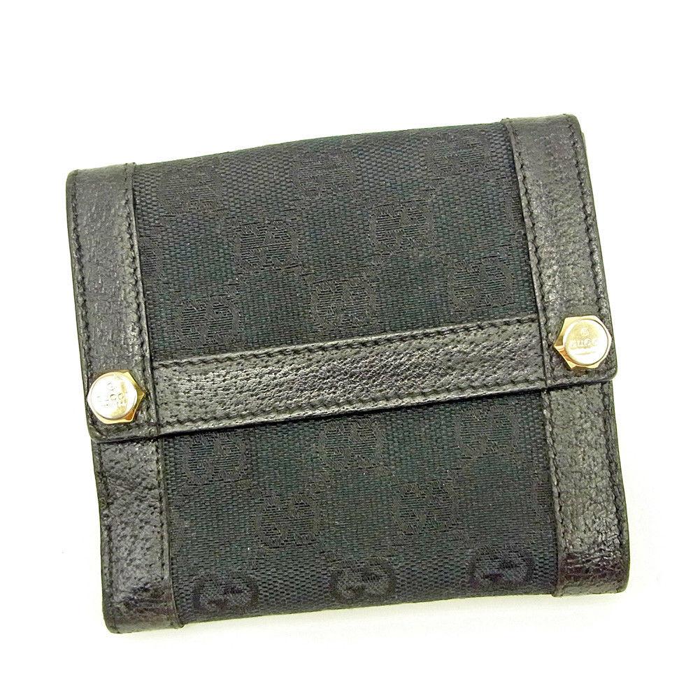 【中古】 グッチ Wホック財布 二つ折り 財布 Gucci ブラック T3666s