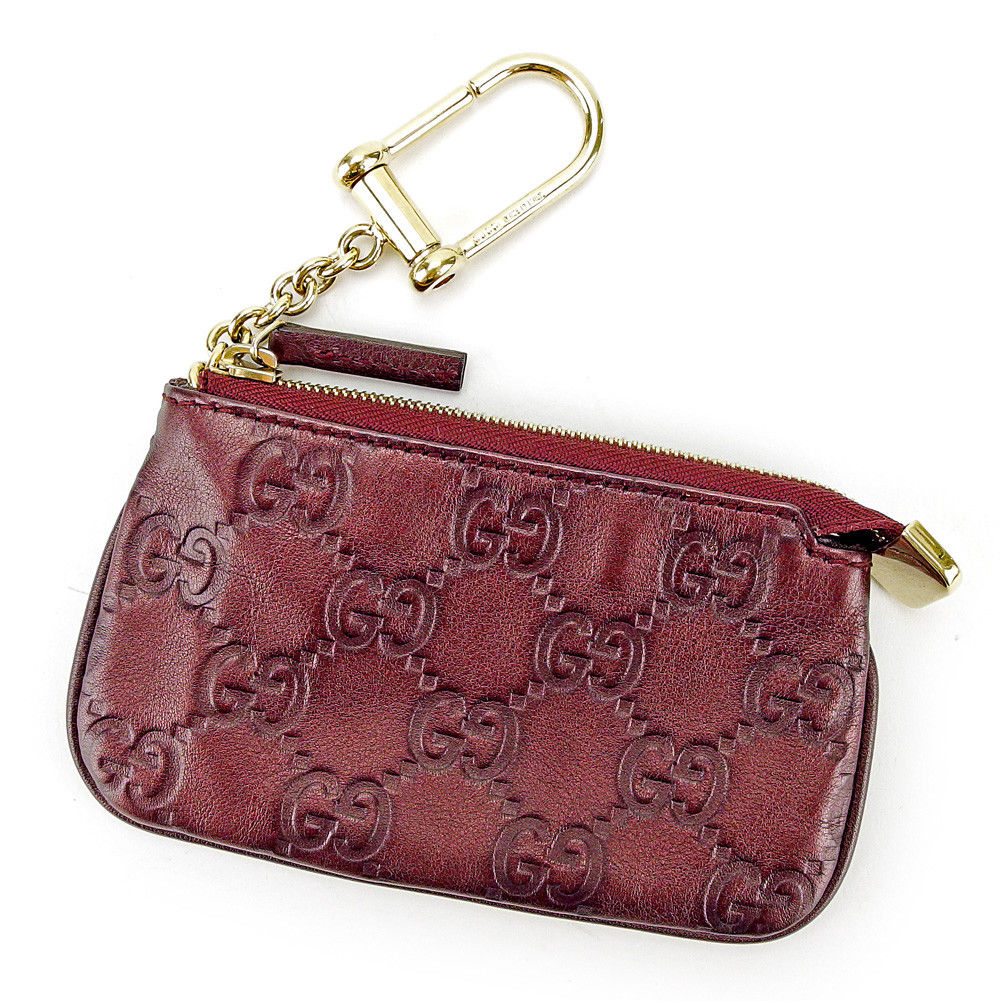 32a78652ad92 Gucci sima dark purple X gold leather beauty product T3681 with the Gucci  GUCCI coin case ...