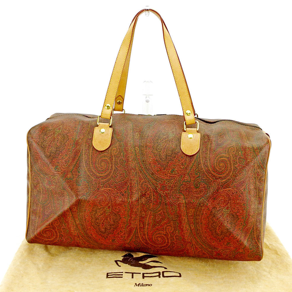 【中古】 エトロ Etro ボストンバッグ バック トラベルバッグ バック 旅行用バッグ バック ブラウン系×ベージュ×ゴールド ペイズリー レディース メンズ 可 T3686s