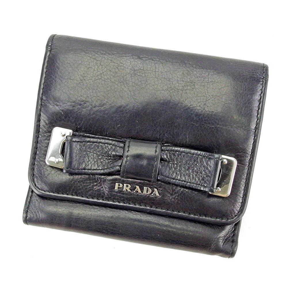 【中古】 プラダ PRADA 三つ折り 財布 レディース リボンモチーフ ブラック×シルバー系 レザー 人気 T3697