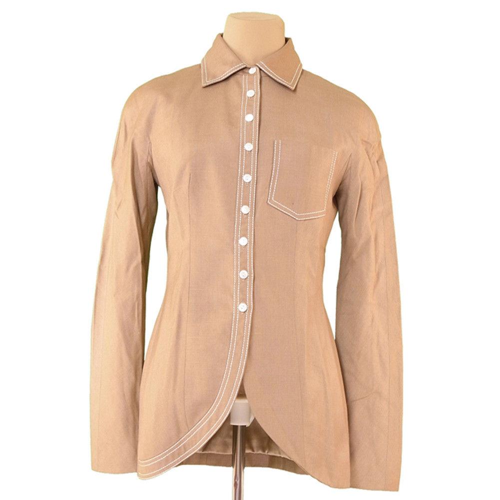 【中古】 ディオール Dior ジャケット 胸ポケット付き レディース ♯USA6サイズ シャツデザイン ベージュ×ホワイト VI/88%Linen/12%(裏地)シルクSilk/100% 美品 T3702 .