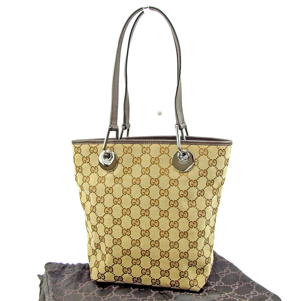 047f9786f8c516 Gucci GUCCI tote bag one shoulder Lady's GG canvas brown X beige canvas X  leather popularity quality goods T3712