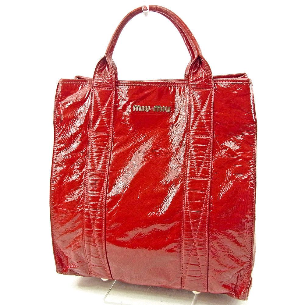 【中古】 ミュウミュウ トートバッグ ハンドバッグ ロゴ レッド パテントレザー miumiu バック 収納 ファッション ブランド ブランドバッグ 手持ちバッグ 人気 贈り物 迅速発送 在庫処分 男性 女性 良品 春 1点物 T3714