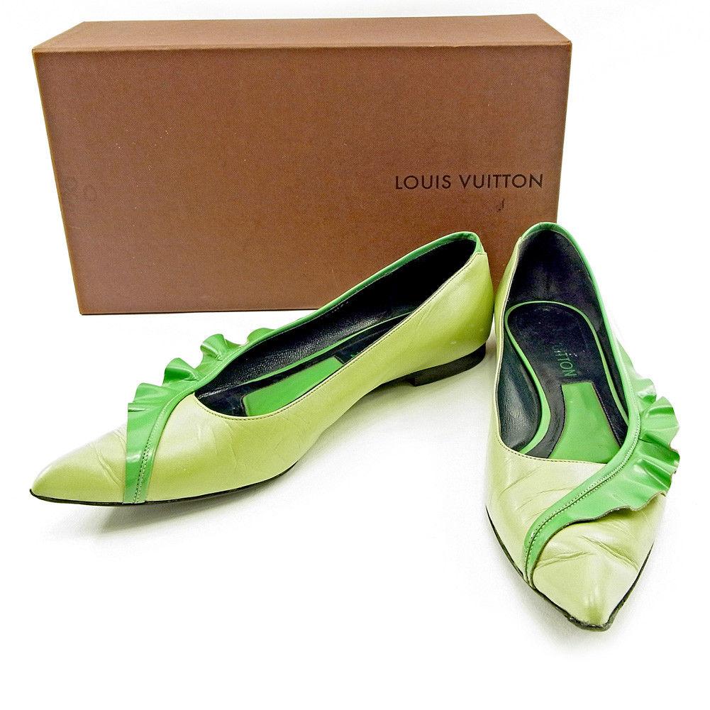 【中古】 ルイ ヴィトン Louis Vuitton パンプス #37 1/2 レディース グリーン レザー 人気 T3805 .