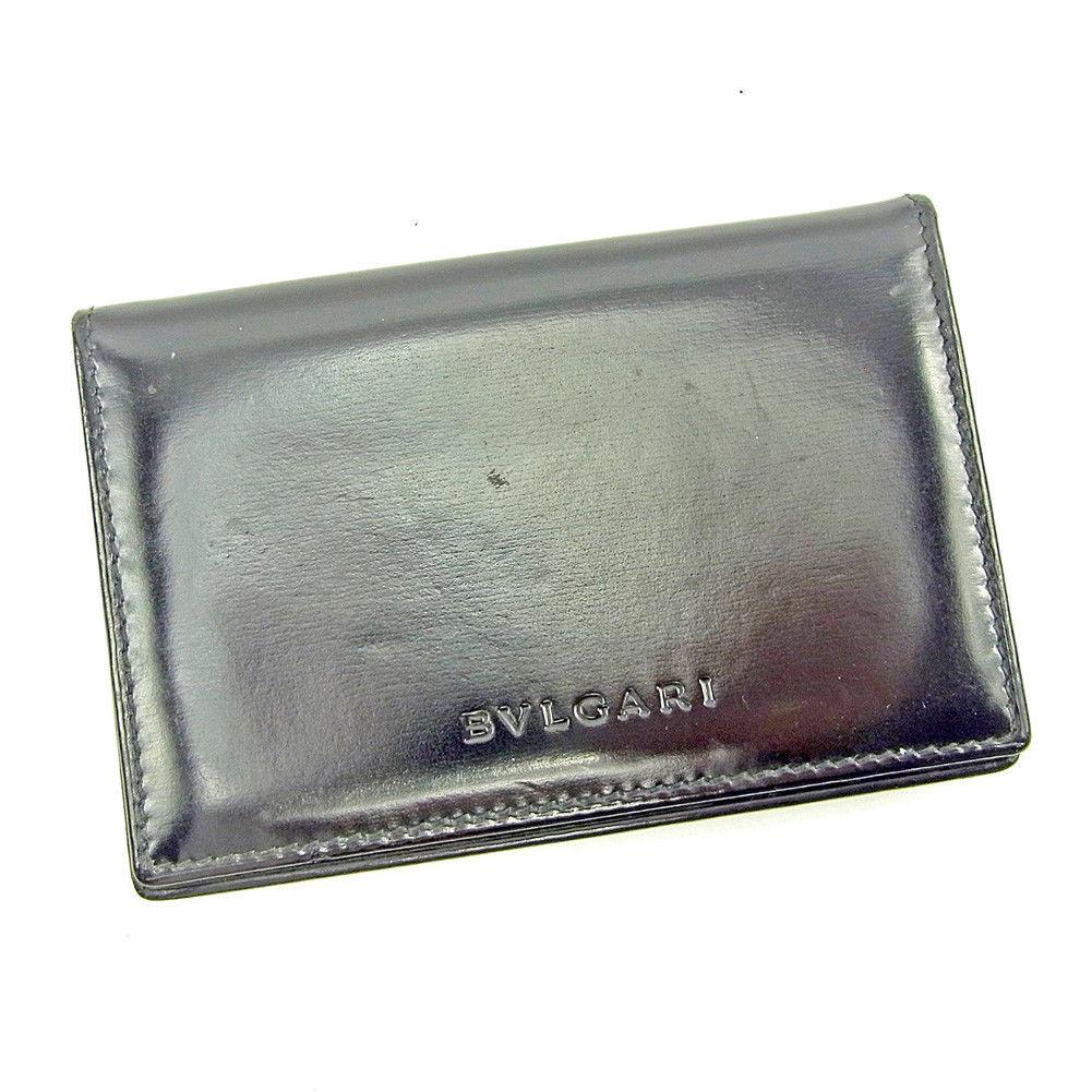 【中古】 ブルガリ BVLGARI 名刺入れ カードケース カード レディース メンズ 可 ブラック レザー T3831