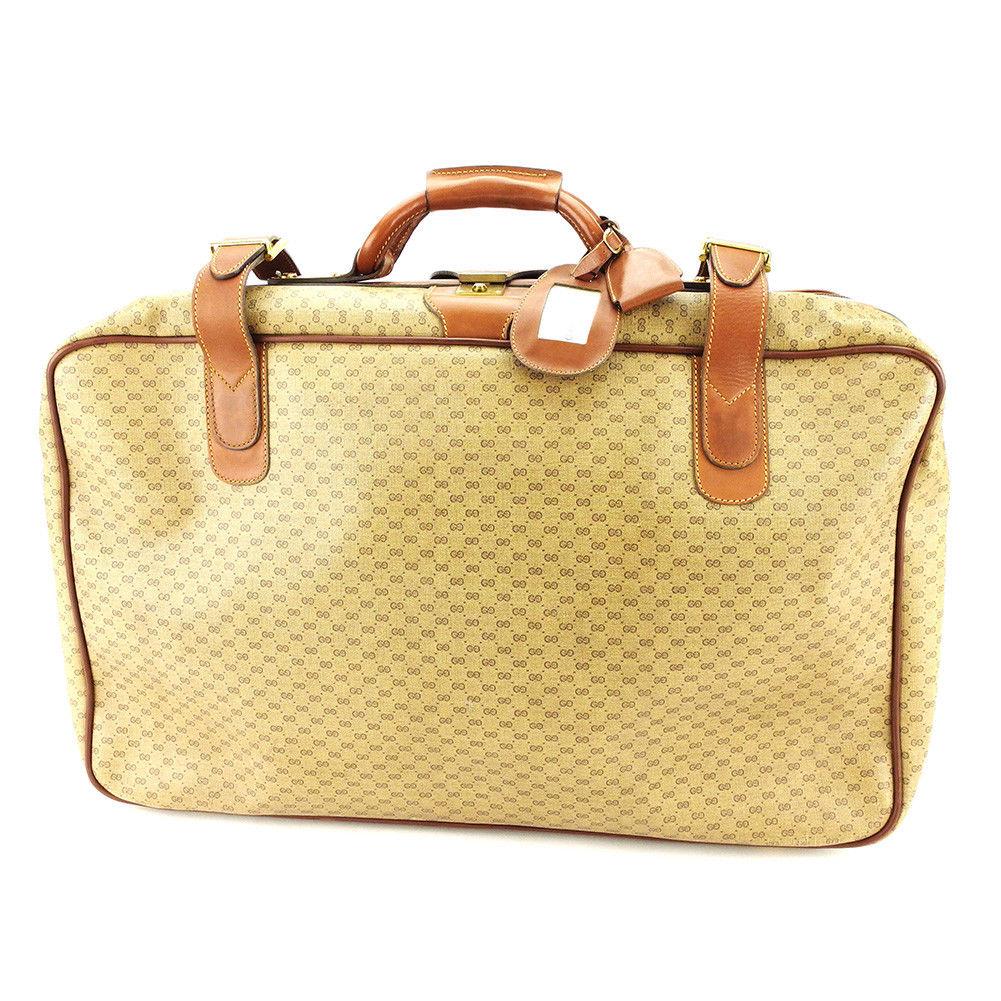 【中古】 グッチ ボストンバッグ トランクケース 旅行用バッグ Gucci ベージュ×ブラウン×ゴールド T3839s