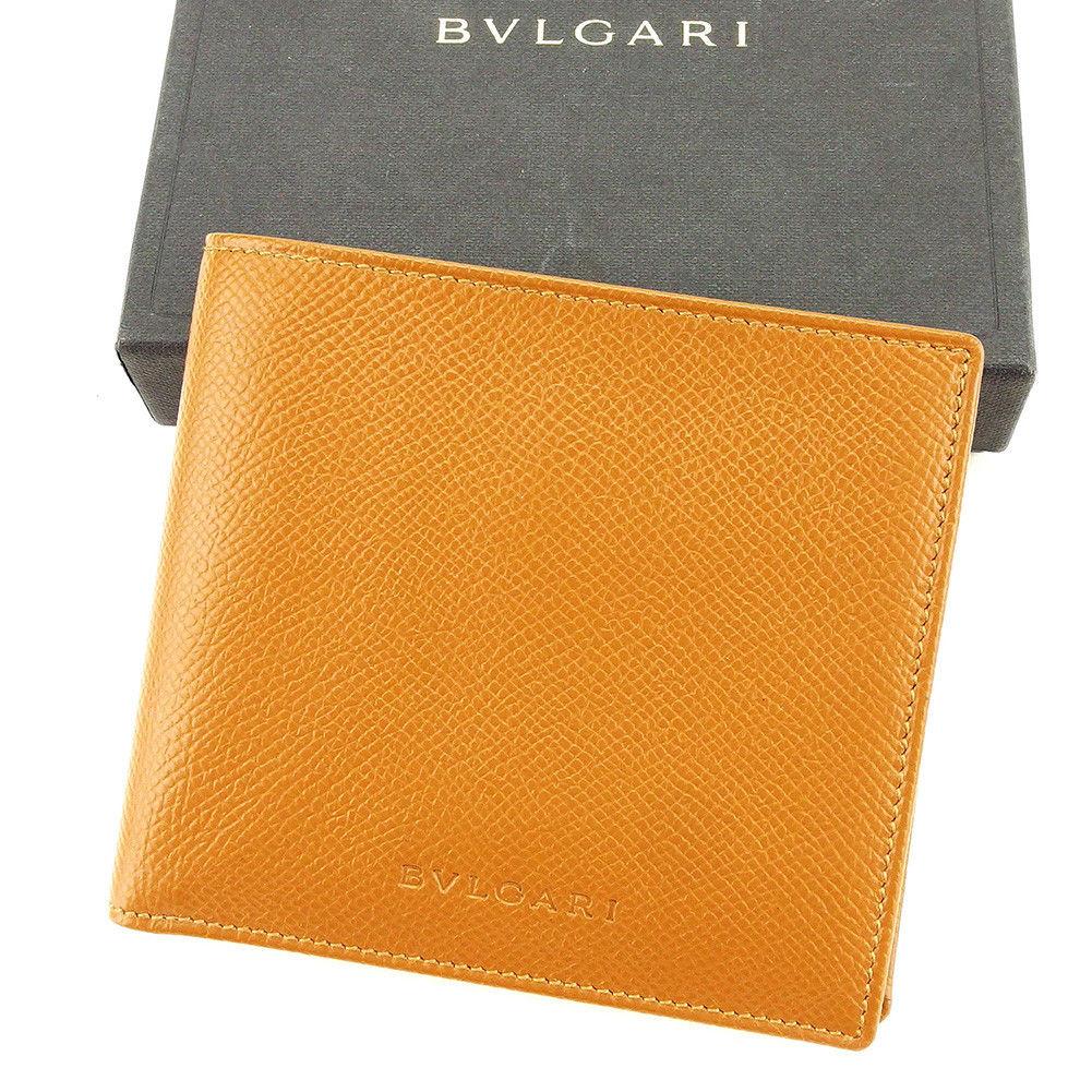 【中古】 ブルガリ BVLGARI 二つ折り 財布 メンズ ロゴ キャメル レザー 中古 【未使用】 T3840