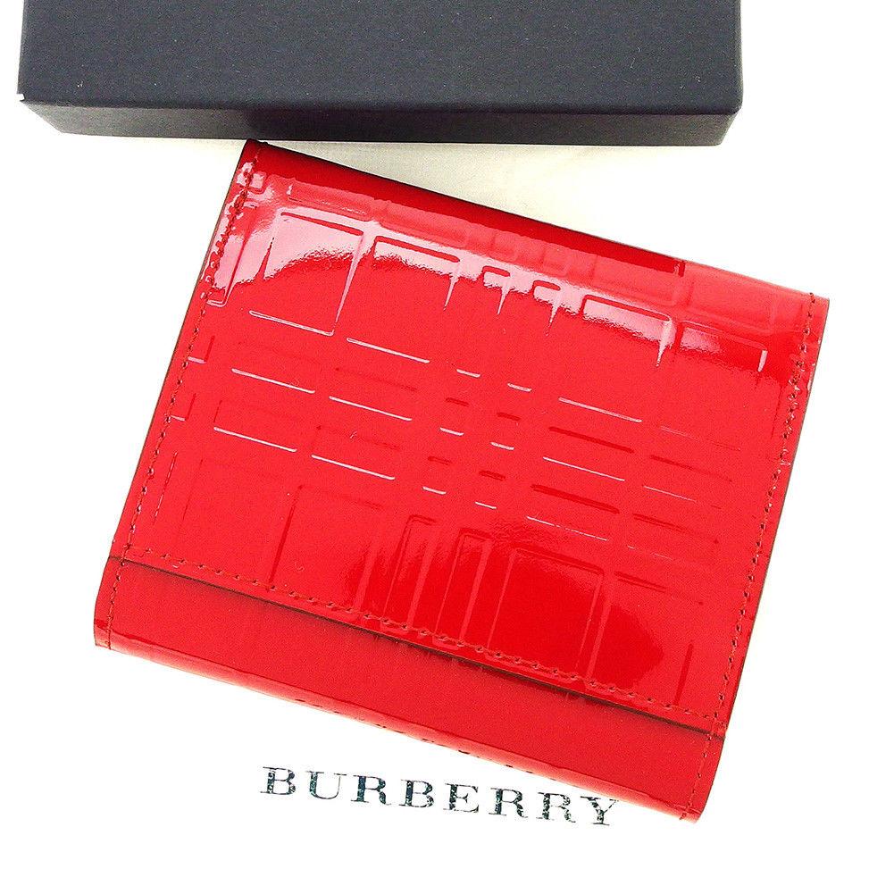 【中古】 バーバリー BURBERRY コインケース 小銭入れ レディース チェック レッド エナメルレザー 美品 T3861 .
