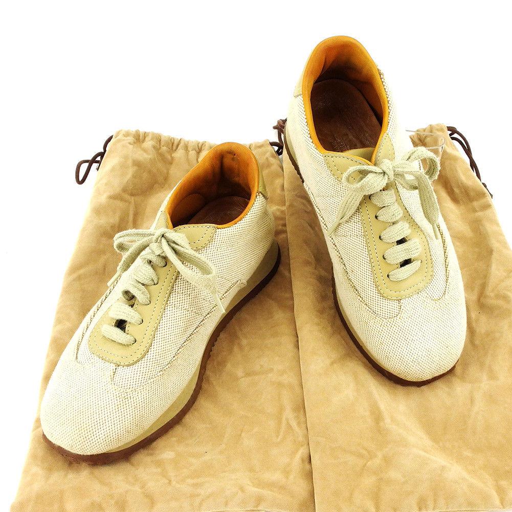 【中古】 エルメス HERMES スニーカー シューズ 靴 レディース ♯36ハーフ ローカット ベージュ×キャメル×ブラウン キャンバス×レザー T3893