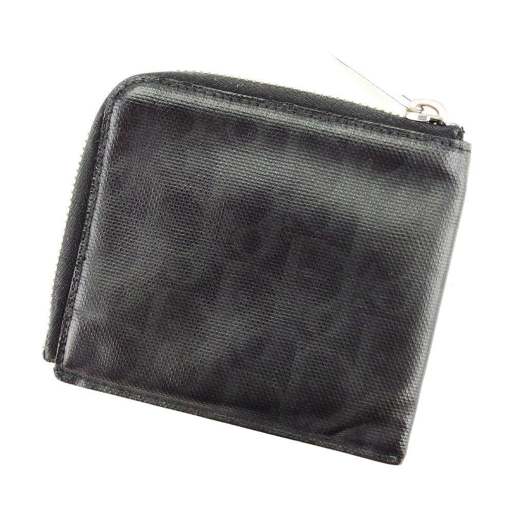 【中古】 ディオール オム Dior Homme 財布 L字ファスナー メンズ トロッター ブラック×シルバー系 PVC 人気 T3911 .