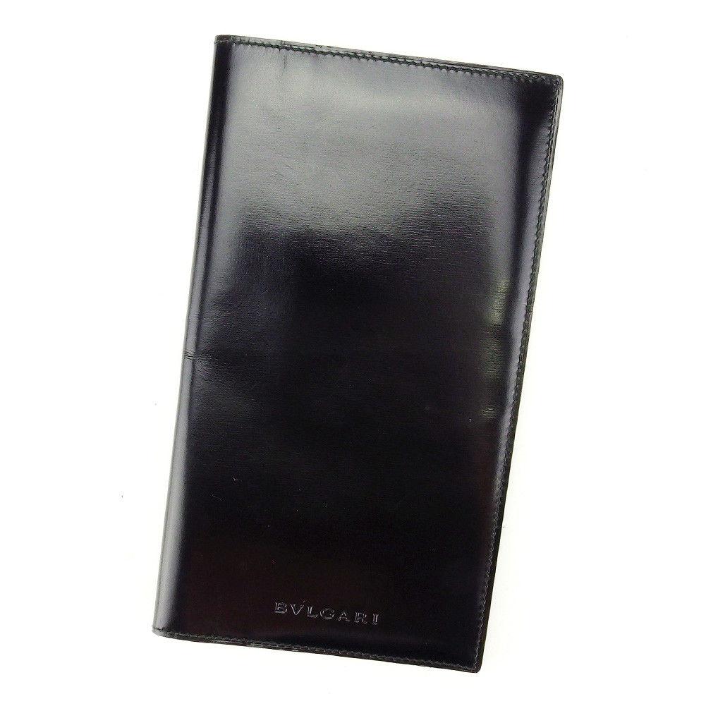 7f95240c965a 【中古】 ブルガリ BVLGARI 長札入れ 札入れ メンズ ロゴ ブラック レザー 良品 T3937 .