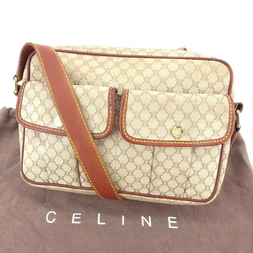 【中古】 セリーヌ Celine ショルダーバッグ バック 斜めがけショルダー ベージュ×ブラウン×ゴールド マカダム レディース メンズ 可 T3950s