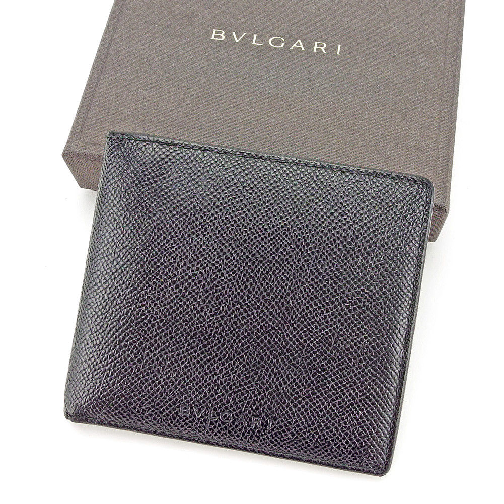 【中古】 ブルガリ BVLGARI ブルガリ T3990 BVLGARI 二つ折り財布 財布 メンズ可 ブラック レザー 美品 T3990, クジュウマチ:c425cd38 --- rigg.is