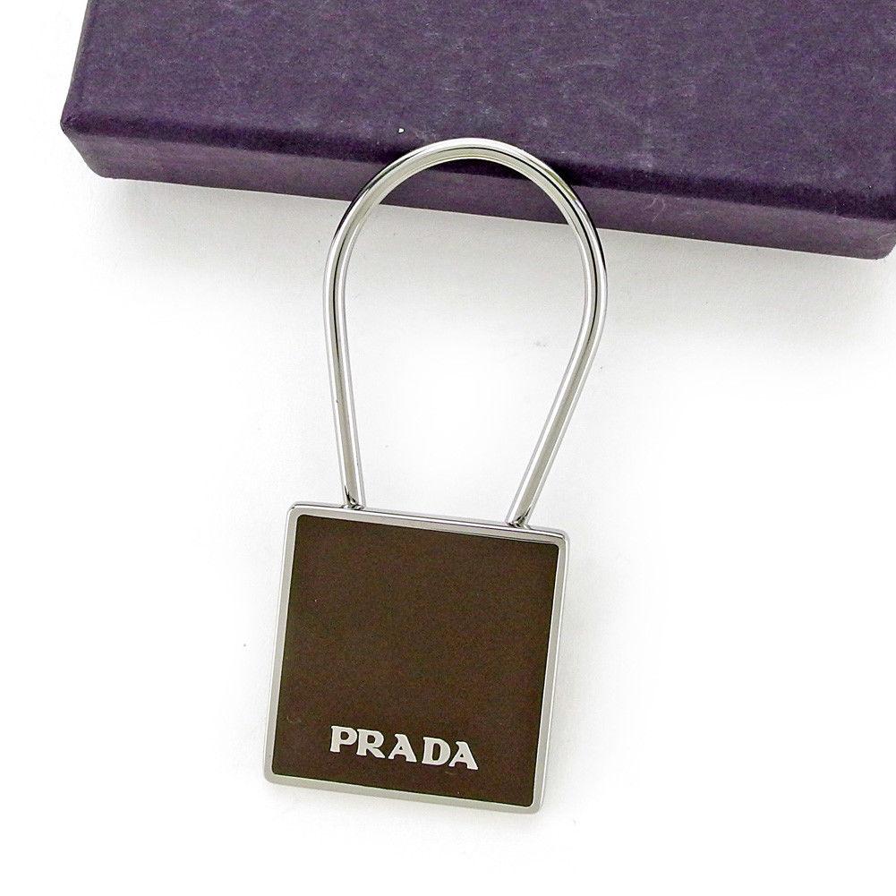 【中古】 プラダ PRADA キーリング キーホルダー チャーム メンズ可 ブラウン×シルバー 美品 T3992