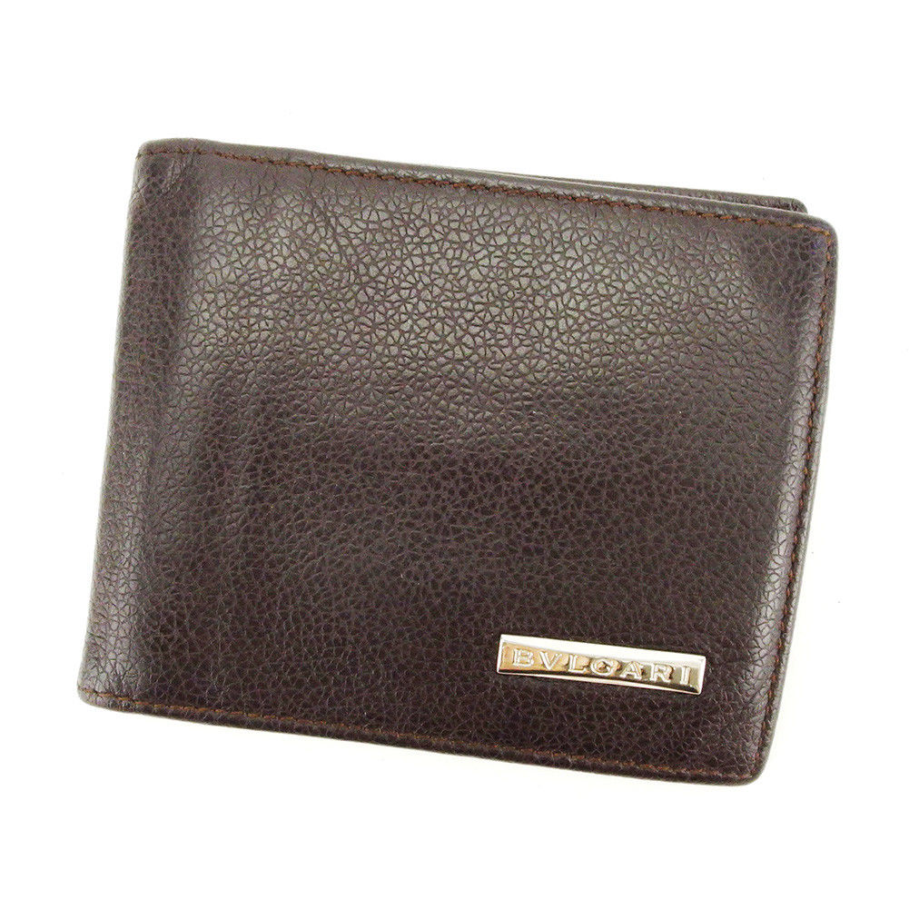 【中古】 ブルガリ BVLGARI 二つ折り 札入れ 財布 マネークリップ メンズ可 ブラウン×シルバー レザー 人気 T4008