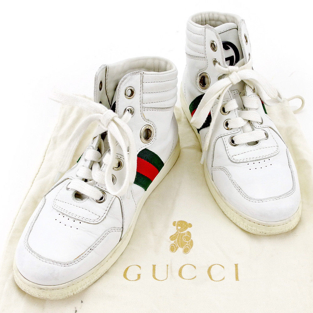 bea81600c4219 Gucci GUCCI sneakers shoes shoes girls Boys possible ♯ 30  ハイカットキッズウェビングラインホワイト X green X red system leather popularity sale T4036.