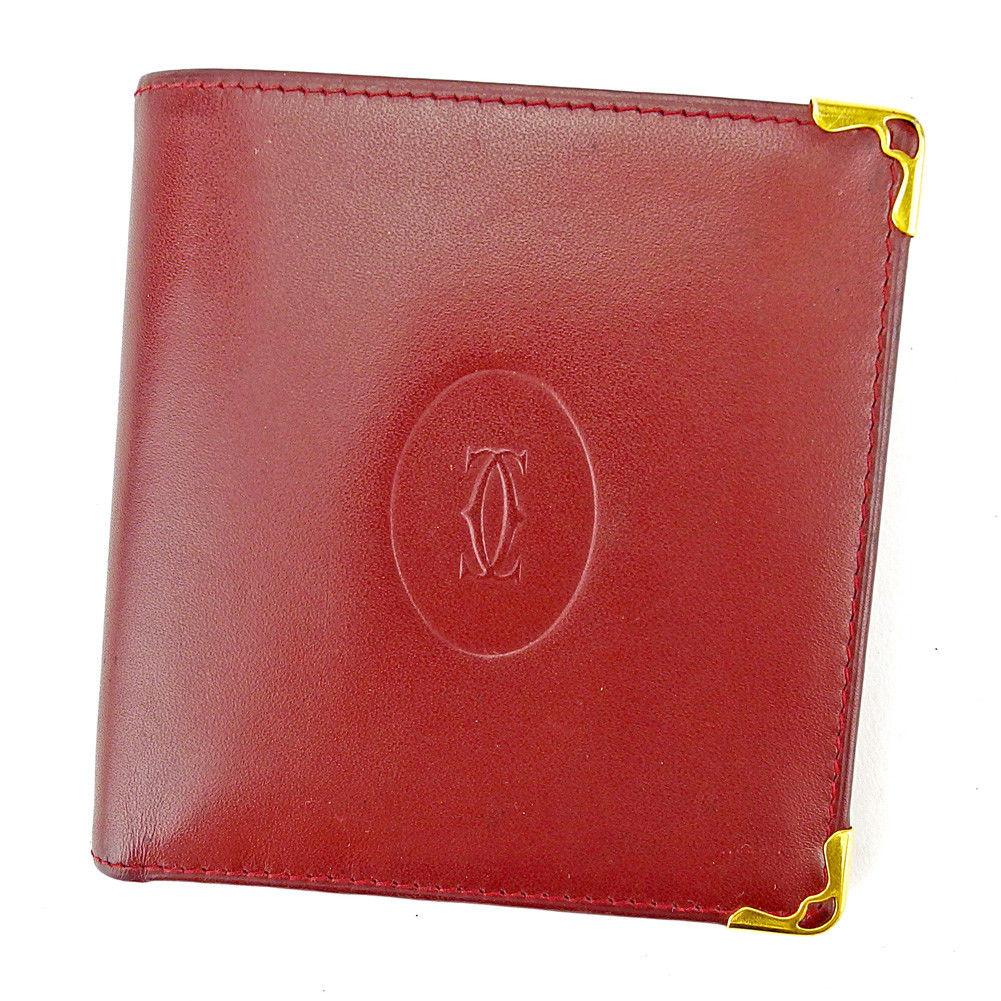 【中古】 カルティエ Cartier 二つ折り 財布 レディース メンズ 可 マストライン ボルドー×ゴールド レザー 良品 T4089