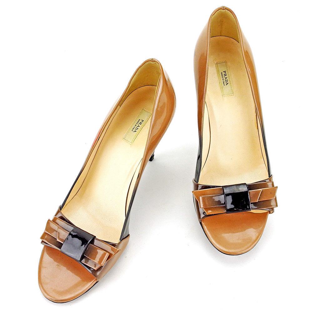【中古】 プラダ PRADA パンプス シューズ 靴 レディース ♯36 オープントゥ ベージュ×ブラック エナメルレザー T4109 .