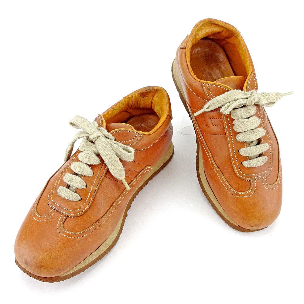 【中古】 エルメス HERMES スニーカー #36 1 2 シューズ 靴 メンズ可 キャメル レザー T4123