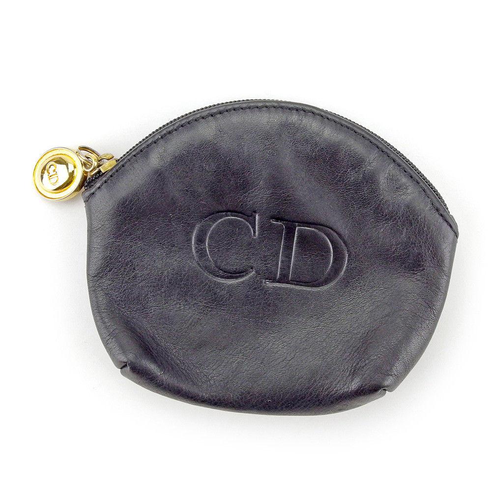 【中古】 ディオール Dior コインケース 小銭入れ メンズ可 ネイビー×ゴールド レザー 人気 良品 T4127 .