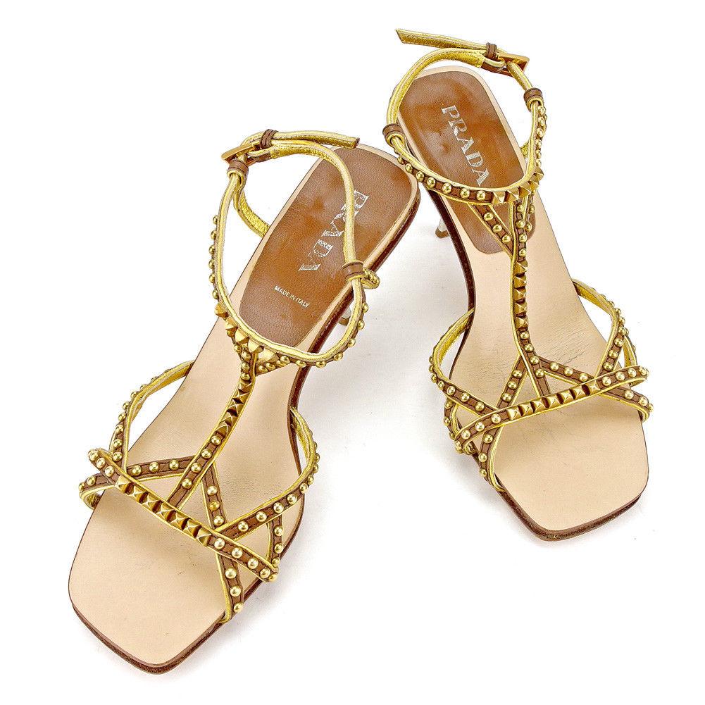 d8f22fc2c1c Prada PRADA sandals  36 T-strap pin heel studs men s possible brown X gold  popularity quality goods T4131.