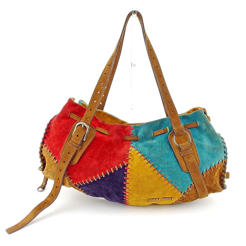 39115259b ミュウミュウ miu miu shoulder bag bag lady patchwork brown X red X blue-green ...