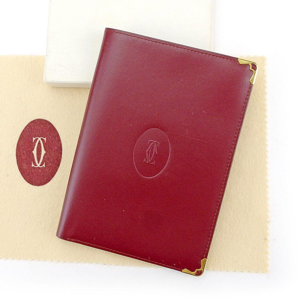 【中古】 カルティエ Cartier パスポートケース パスポートカバー レディース メンズ 可 マストライン ボルドー×ゴールド レザー 美品 T4167 .