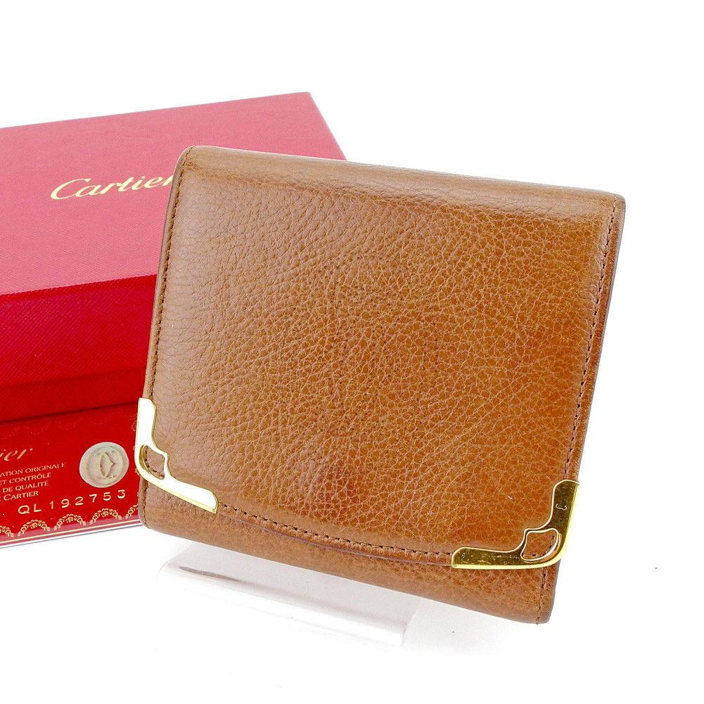 【中古】 カルティエ Cartier 三つ折り 財布 レディース メンズ 可 マルチェロ ブラウン×ゴールド レザー 良品 T4172 .