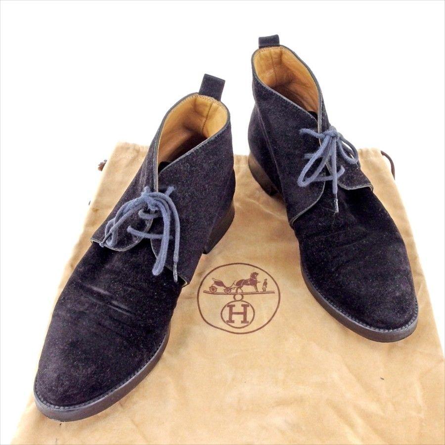 【中古】 エルメス HERMES ブーツ シューズ 靴 レディース ショート丈 ブラック スエード T4180