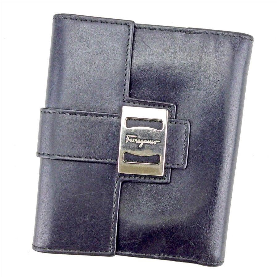 【中古】 サルヴァトーレ フェラガモ Salvatore Ferragamo Wホック 財布 二つ折り レディース メンズ 可 ヴァラ ブラック×シルバー レザー 人気 T4188