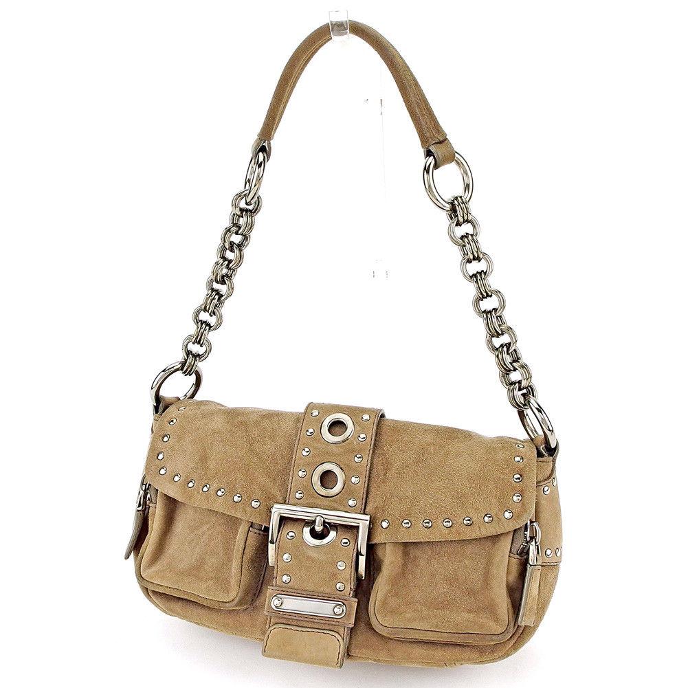 62d261392020 Prada PRADA shoulder bag chain shoulder bag Lady's triangle logo studs  charcoal gray X silver suede ...
