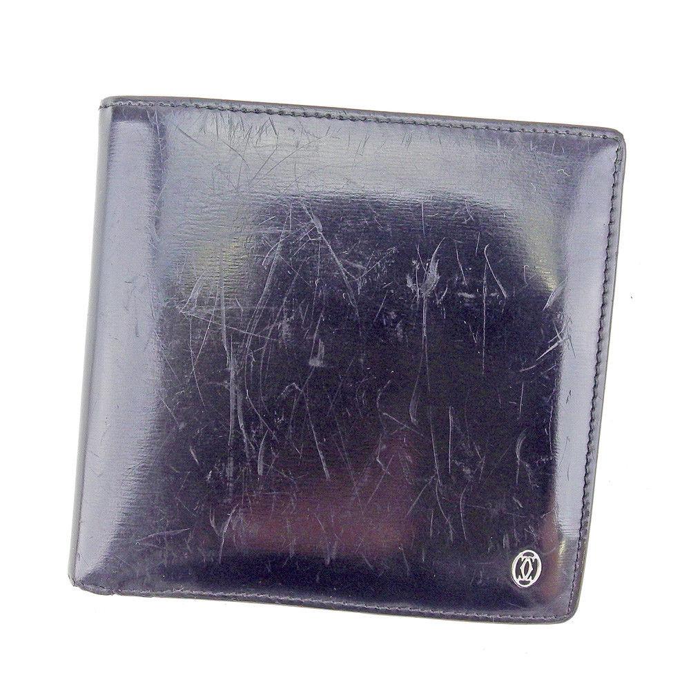 【中古】 カルティエ 二つ折り 財布 パシャ ブラック×シルバー レザー Cartier 二つ折りサイフ 財布 サイフ 収納ブランド ブランド財布 ユニセックス 小物 人気 贈り物 迅速発送 在庫処分 男性 女性 良品 夏 1点物 T4204