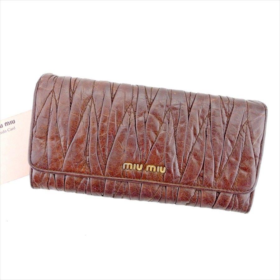 【中古】 ミュウミュウ miu miu 長財布 財布 ファスナー付き レディース マテラッセ ブラウン×ゴールド レザー 人気 T4210