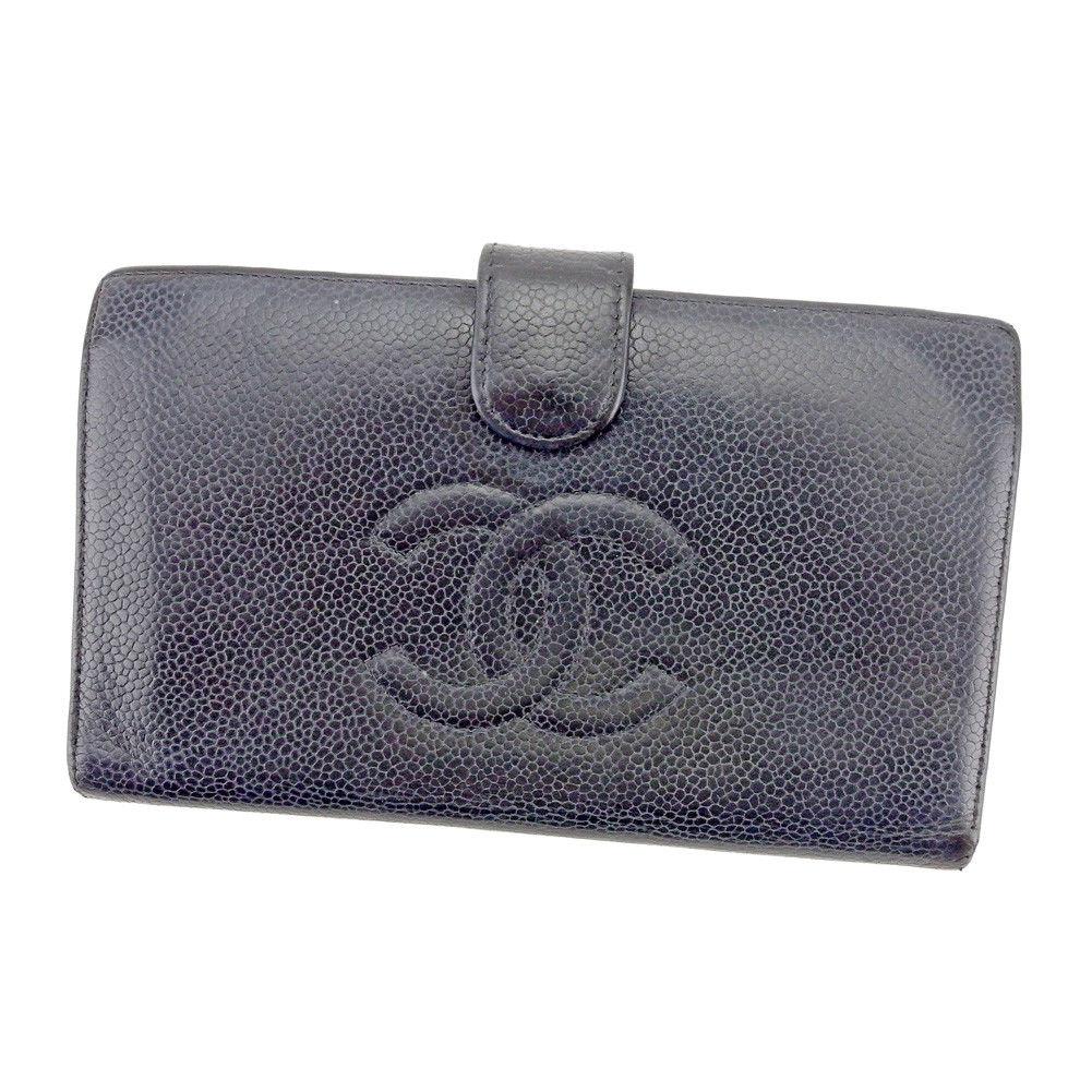【中古】 シャネル 長財布 がま口 財布 Chanel ブラック×ゴールド T4226s