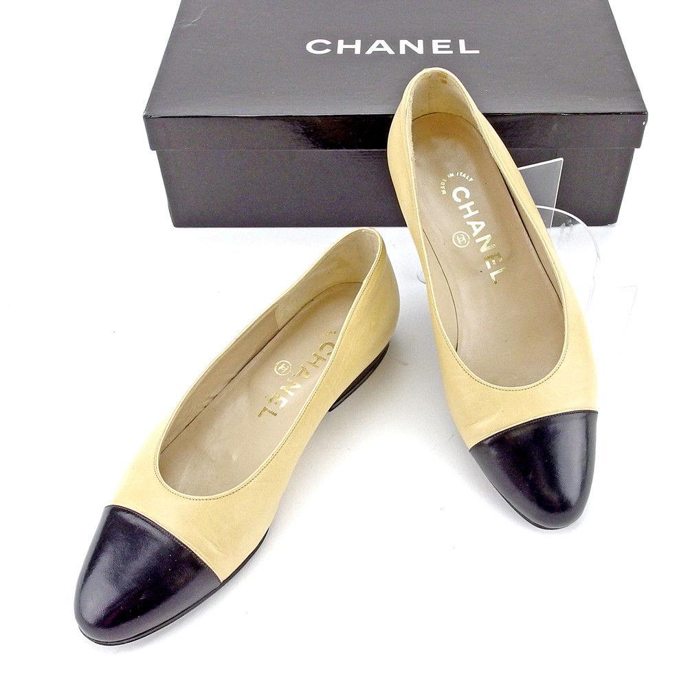 【中古】 シャネル CHANEL パンプス シューズ 靴 レディース ♯34 ラウンドトゥ ベージュ×ブラック レザー T4239