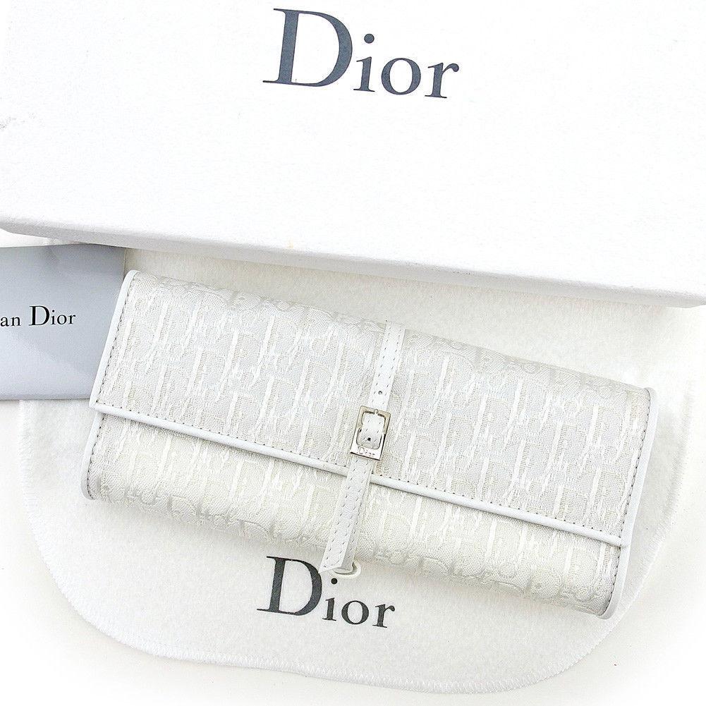 【中古】 ディオール Dior アクセサリーケース ジュエリーケース レディース トラベル トロッター ホワイト系×シルバー キャンバス×レザー 訳あり 中古 【未使用】 T4262