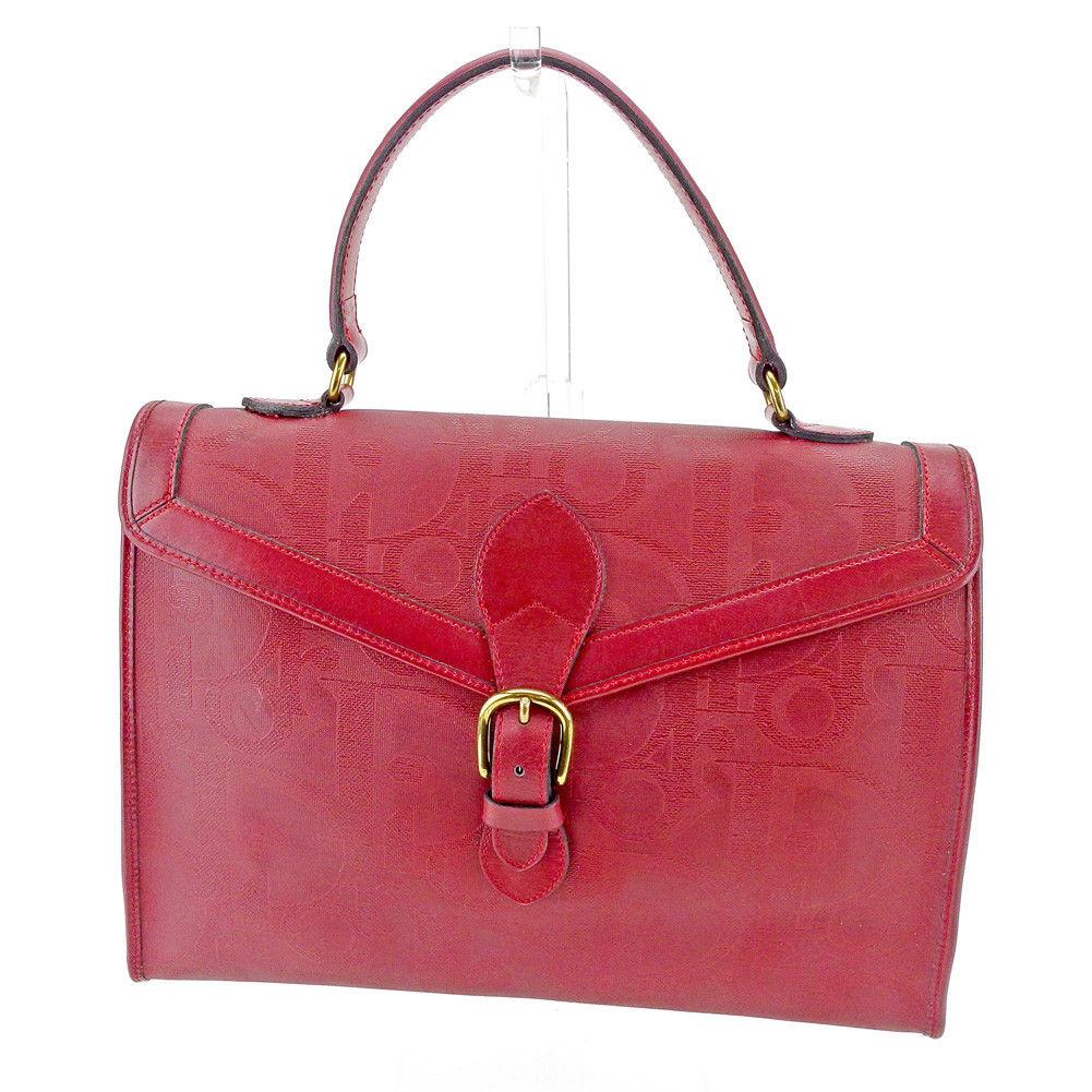 【中古】 ディオール Dior ハンドバッグ バッグ レディース オールドディオール トロッター ボルドー×ゴールド PVC×レザー ヴィンテージ 人気 T4291 .