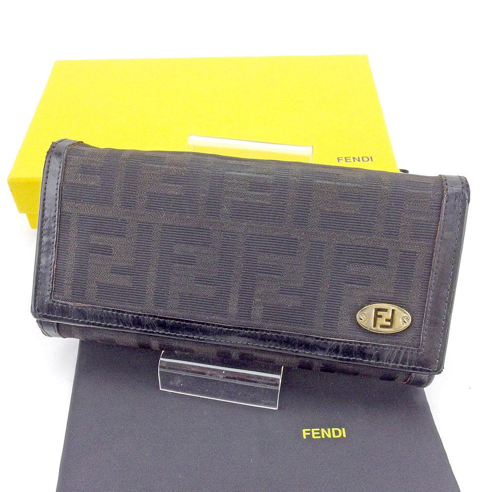 【中古】 フェンディ FENDI 長財布 財布 L字ファスナー 三つ折り レディース メンズ 可 ズッカ ブラック×ゴールド キャンバス×レザー 人気 T4293