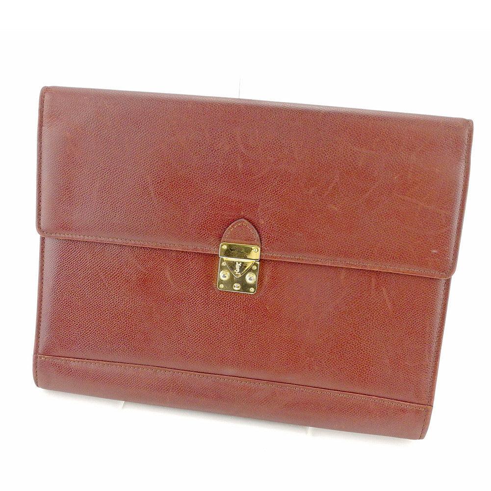 3c0619c8b8 Saint-Laurent SAINT LAURENT clutch bag second bag lady's men's possible YSL  logo plate brown X gold leather popularity sale T4323