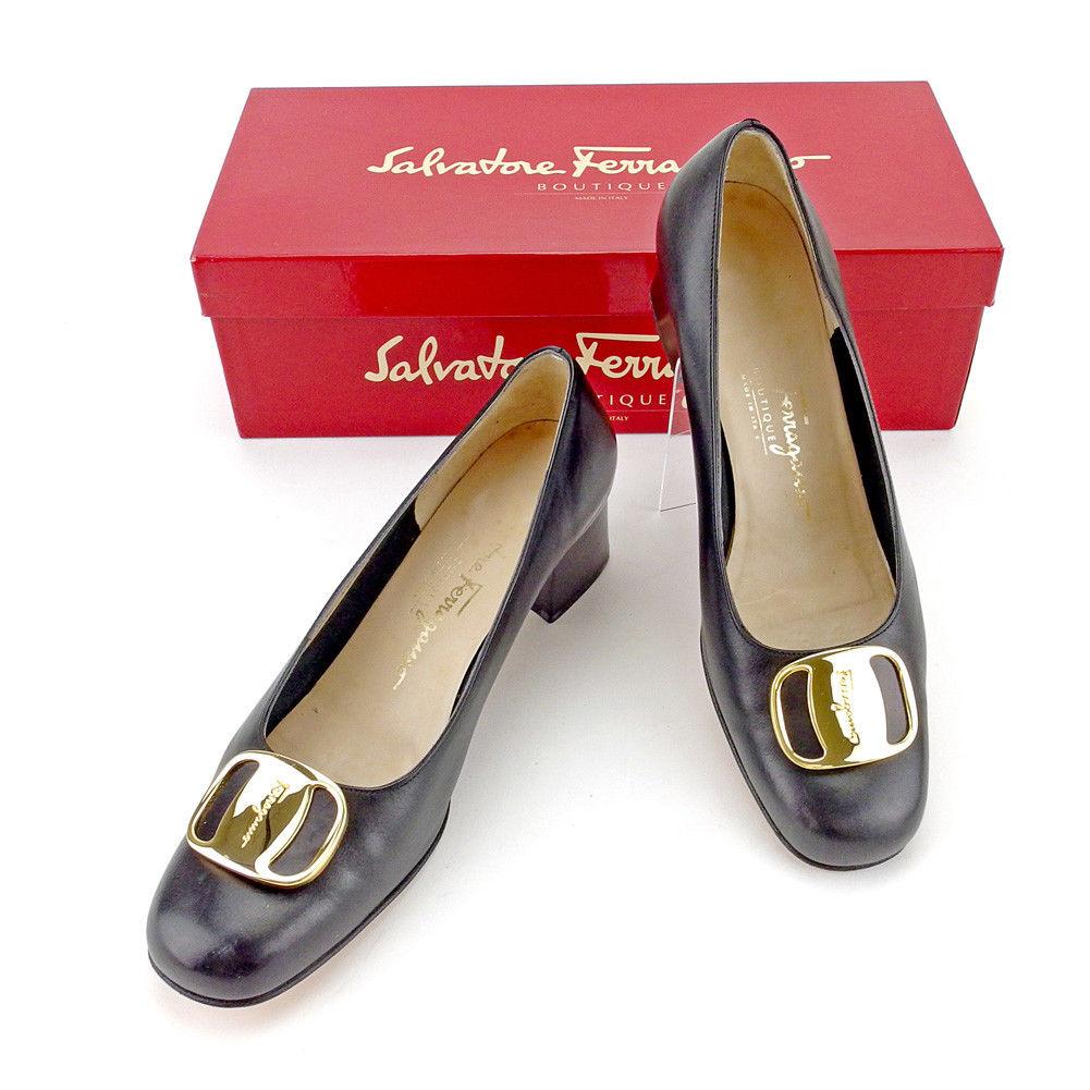 【中古】 サルヴァトーレ フェラガモ Salvatore Ferragamo パンプス シューズ 靴 レディース ♯5ハーフC スクエアトゥ ヴァラ ブラック×ゴールド レザー 人気 T4344 .
