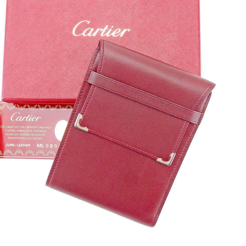 カルティエ Cartier 三つ折り 札入れ レディース メンズ 可 ボルドー×シルバー レザー T43520mNwn8
