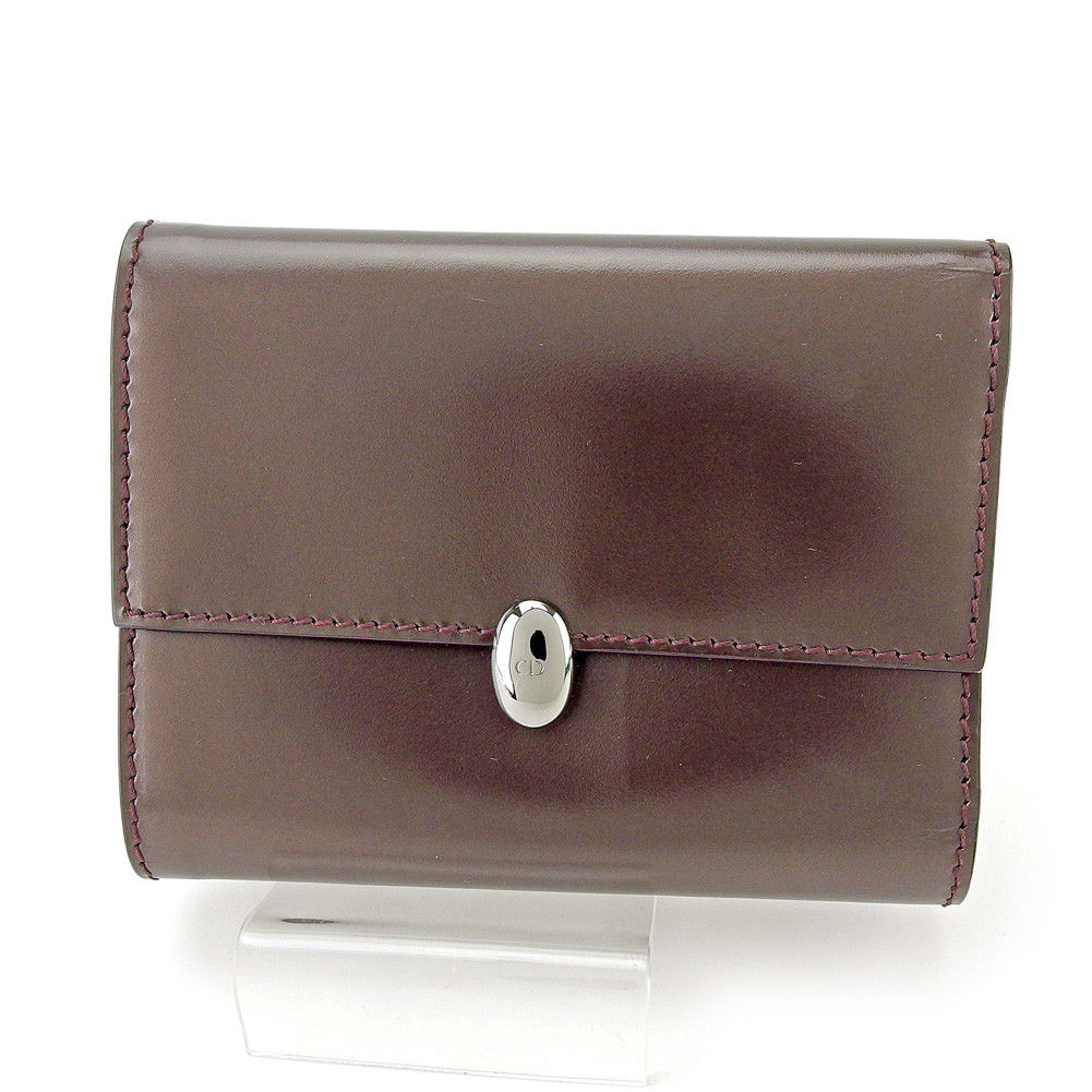【中古】 ディオール Dior 三つ折り 財布 ファスナー付き レディース メンズ 可 CDボタン ダークブラウン×シルバー レザー 訳あり 中古 【未使用】 T4362