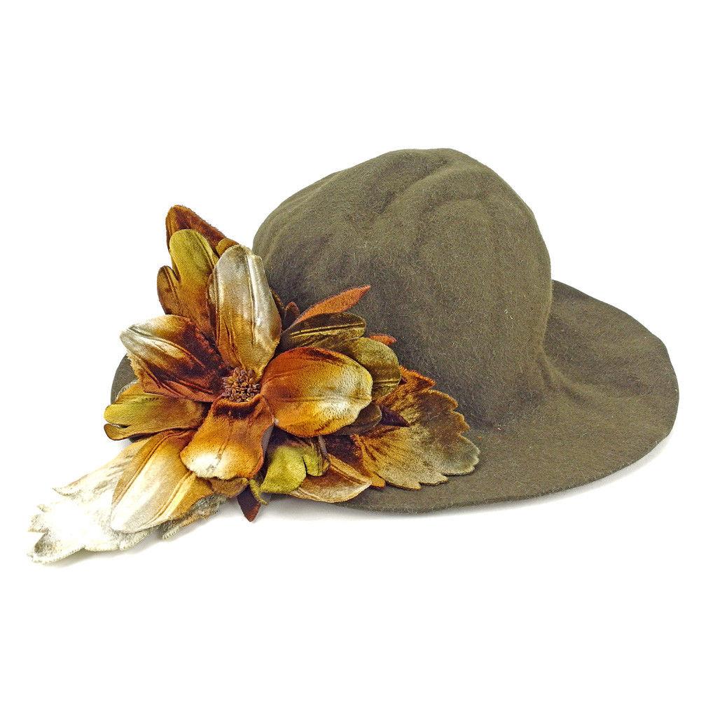 【中古】 ミュウミュウ miu miu 帽子 レディース フラワーモチーフ付き ハット ダークブラウン系 良品 T4399