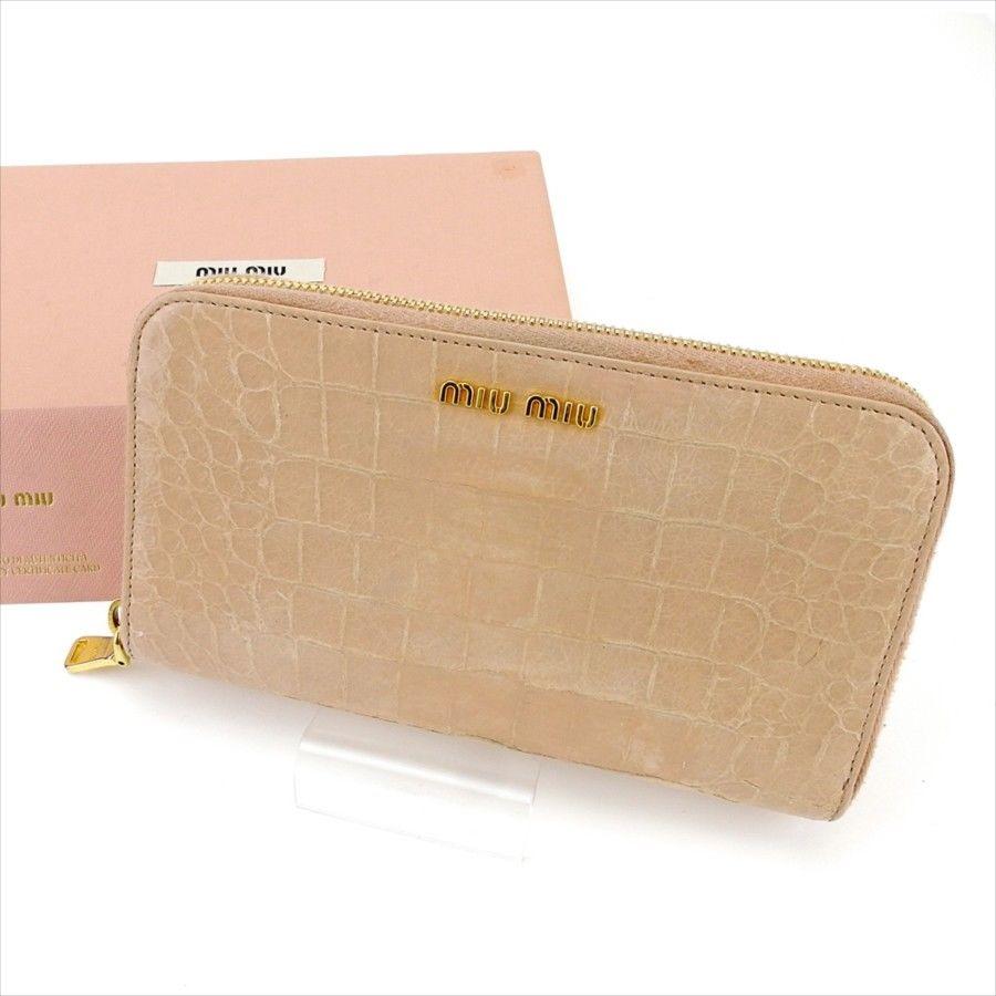 2147fc20e38b 【中古】 ミュウミュウ miu miu 長財布 財布 ラウンドファスナー レディース クロコダイル調 ピンク