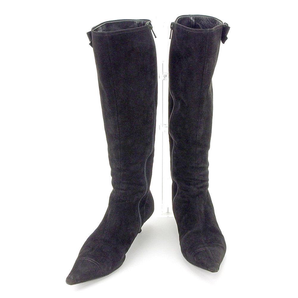 【中古】 ミュウミュウ miu miu ブーツ シューズ 靴 レディース ♯38 リボンモチーフ付き ブラック スエード T4456